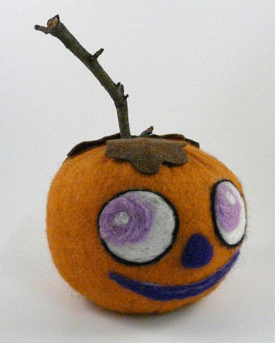 Halloween Needle Felted wool Pumpkin-  primitive orange OOAK needle felting roving