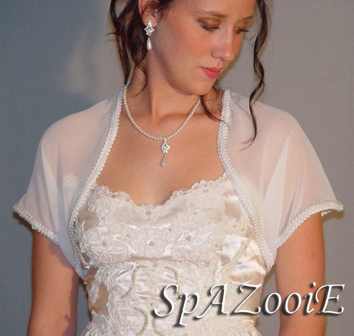 Ivory- X-LARGE (Fits U.S. PLUS Size 20-24) Trimmed Short Sleeve Chiffon Bolero Jacket Bridal