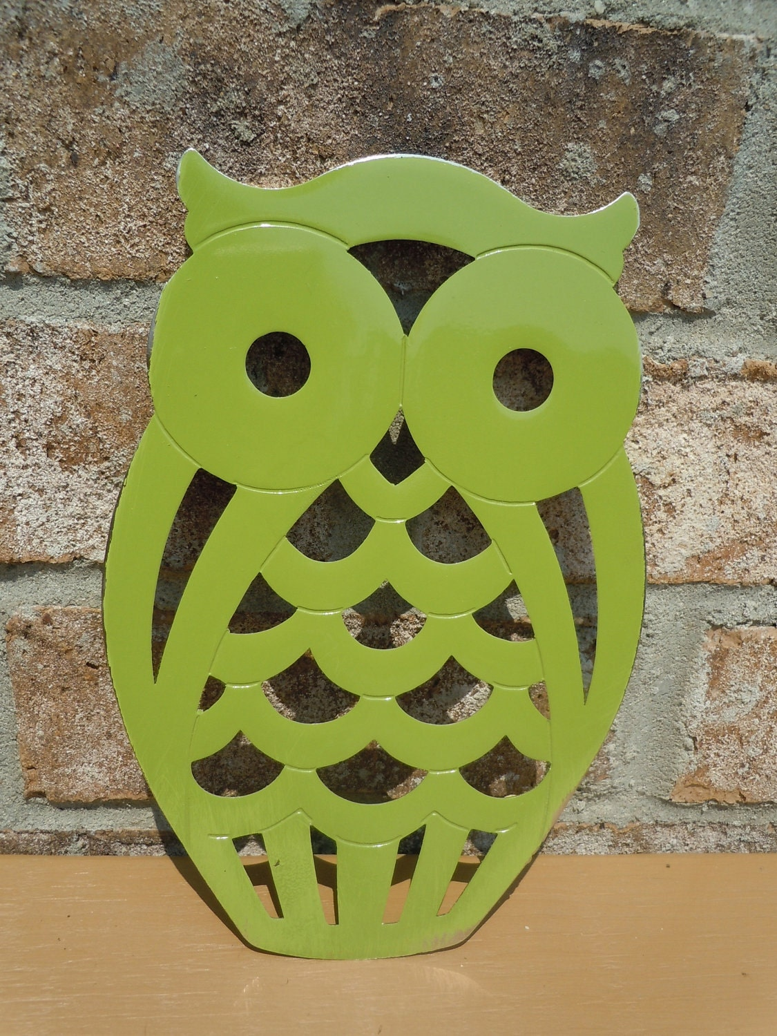 Upcycled metal owl trivet olive green kitchen by UpcycledWhimsies