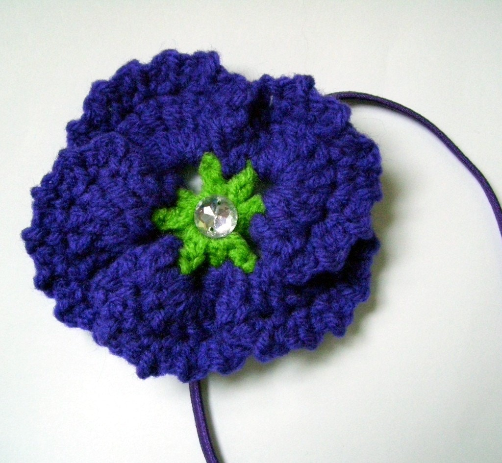 Purple Pansy Headband with Gem Center