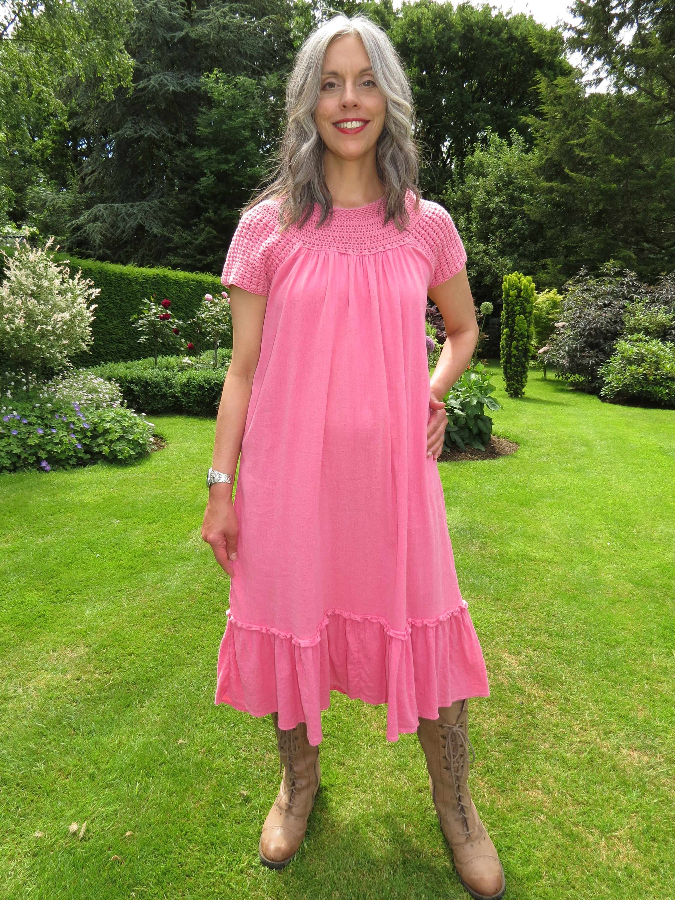 Vintage 1970s Candy Pink Chambeli Indian Pakistani Cheesecloth Knee Length Dress with Crochet Trim