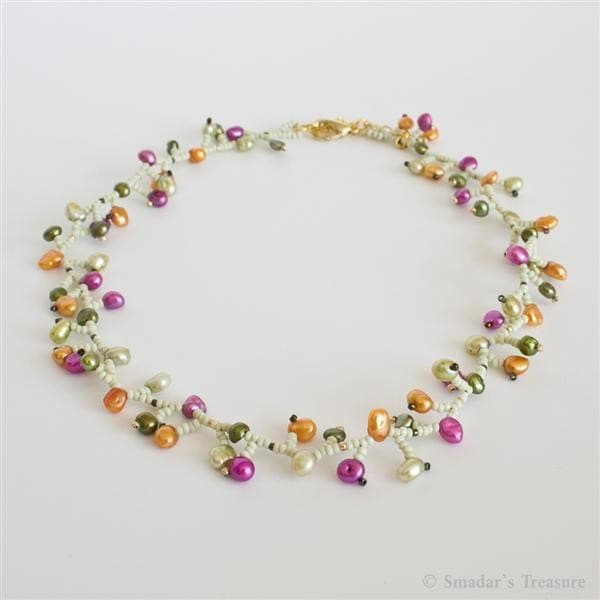 Colorful Delicate Necklace with Pearls