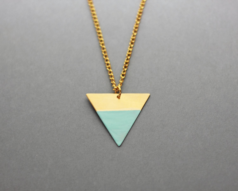 Dipped Geometric Triangle Necklace (Light Blue - Bronze) - Modern Handmade Jewellery