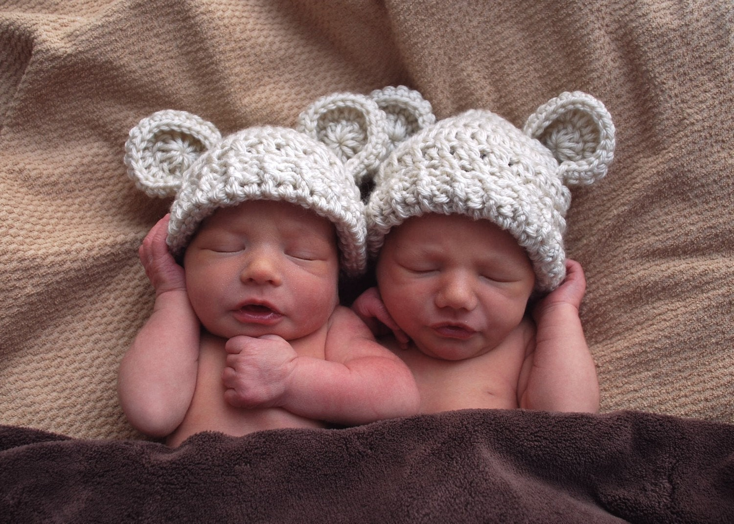 SALE-SET OF TWO-Adorable Crocheted Hat with Ears-0-3 months-in your color choices-MADE TO ORDER