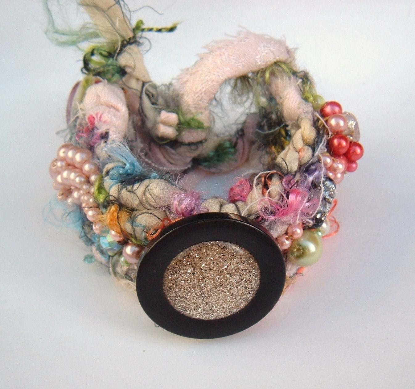 Rag Crochet Embellished Pinks and pastels Bracelet recycled Vintage OOAK