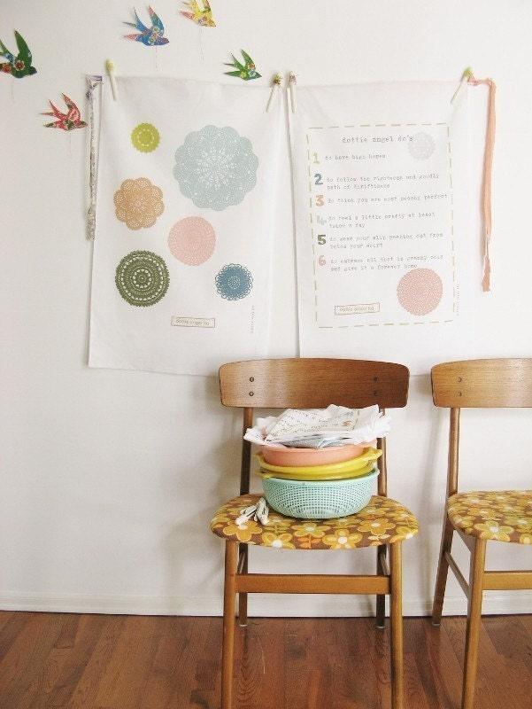 a perfectly peachy pair of dottie angel tea towels