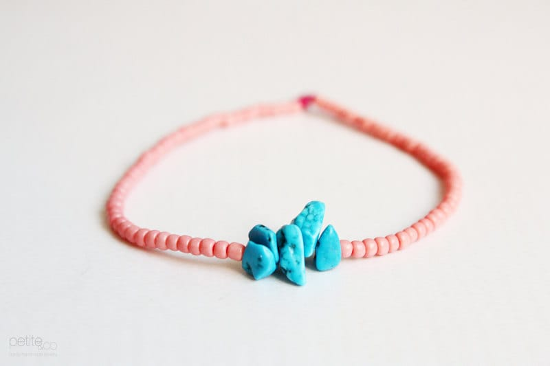 coral reef - turquoise and coral beaded friendship bracelet - summer jewelry - PetiteCo