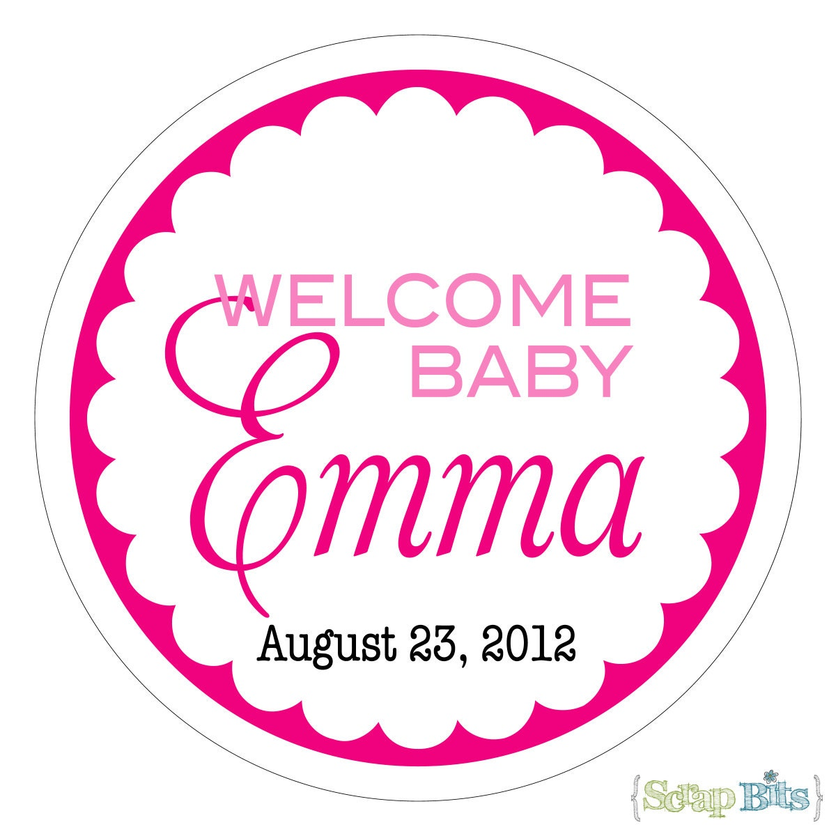 welcome baby personalized baby shower stickers labels or tags