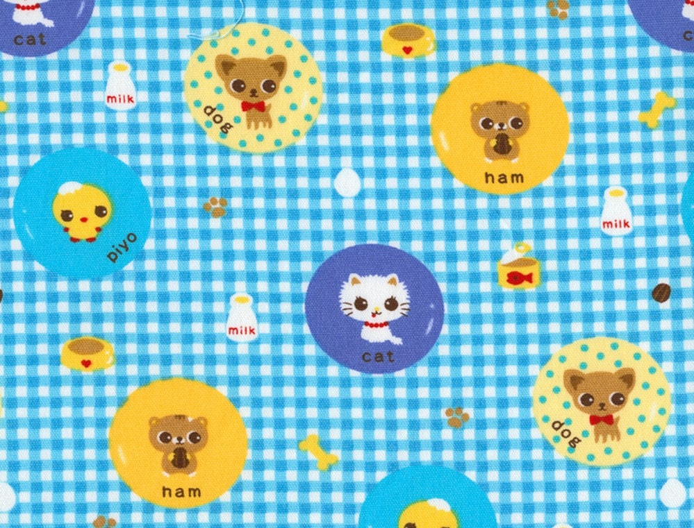Caramel Town Bundle of Cuteness on Blue - Japanese Fabric Half Yard Kawaii