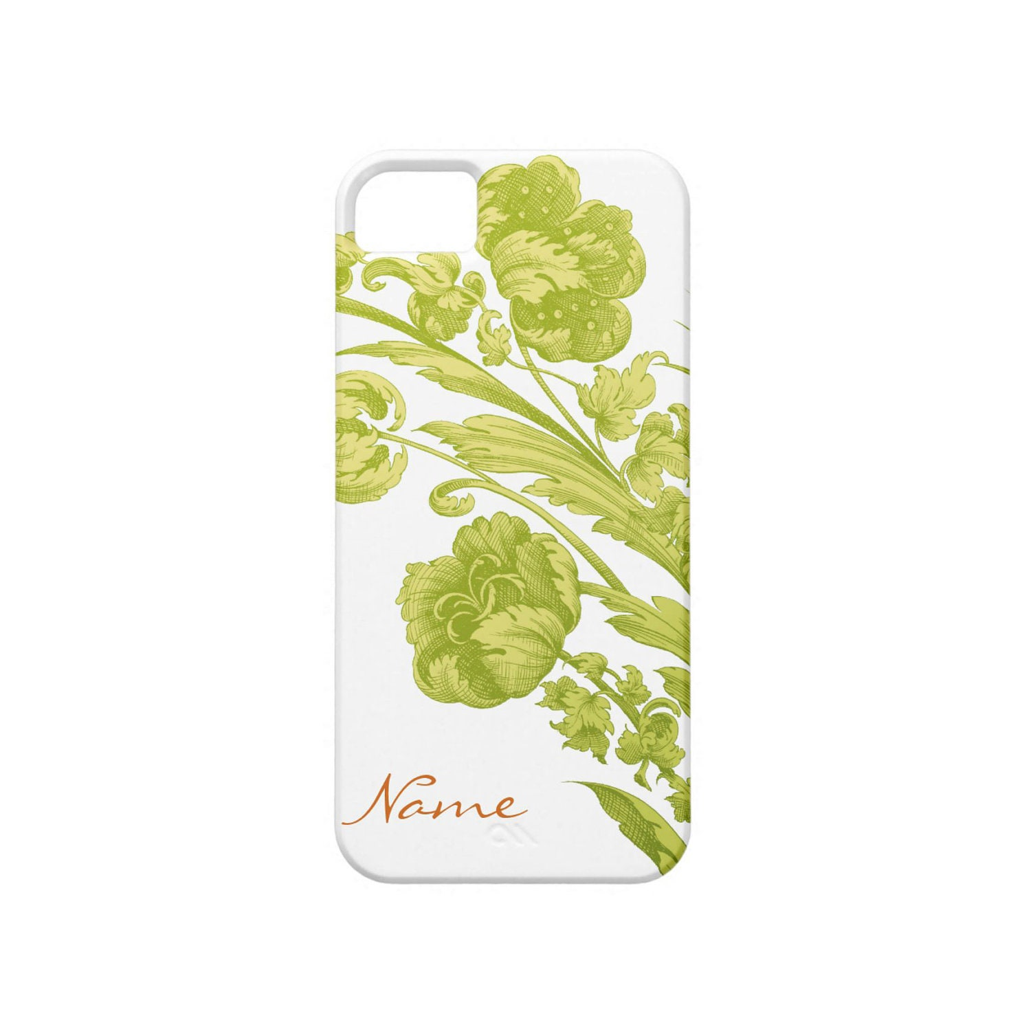 Personalized iPhone 5 Case, Flowers in Green and Orange, Customized Cell Phone Case
