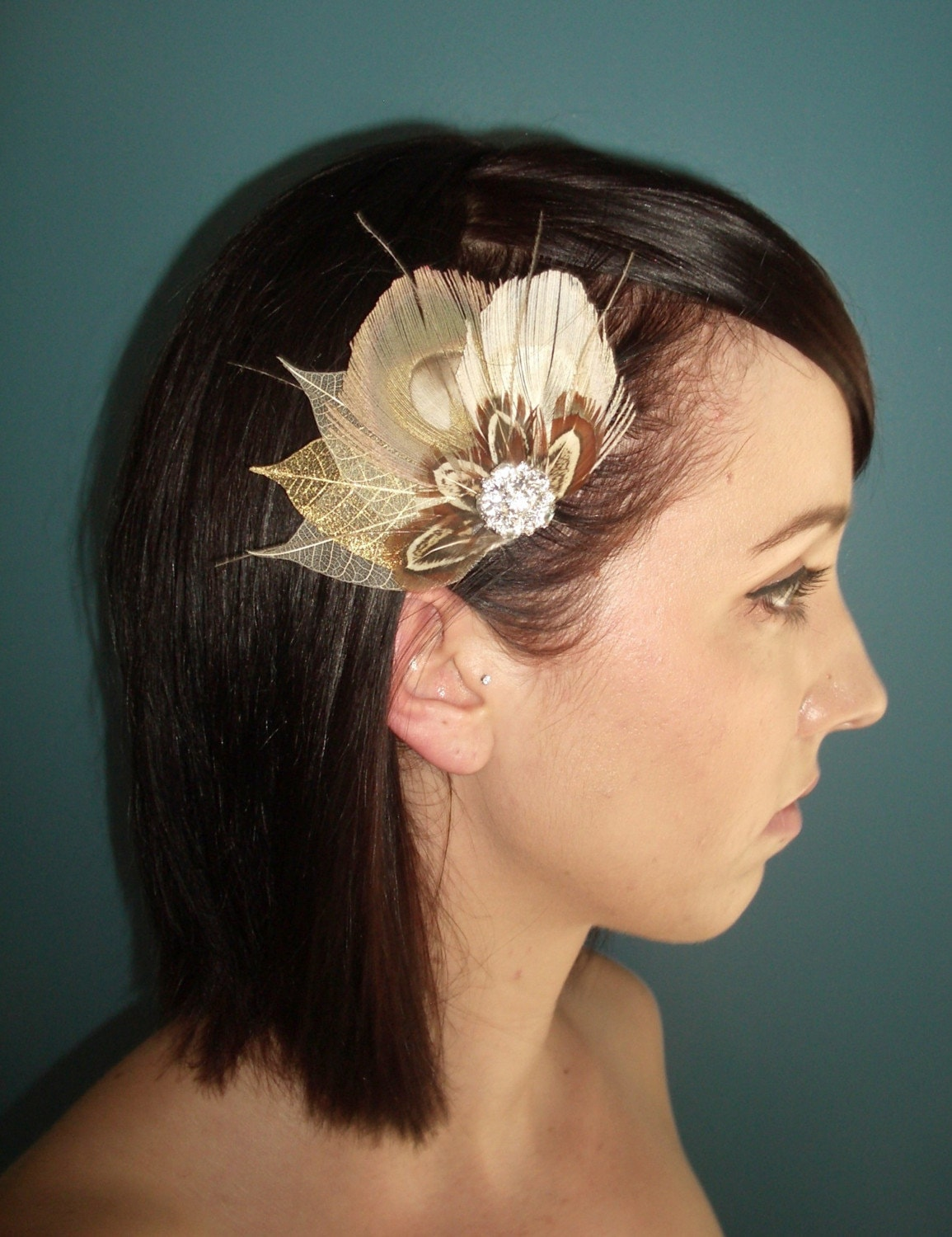 Fall Feather Fascinator  Bridal or Special Occasion by TessaKim from etsy.com