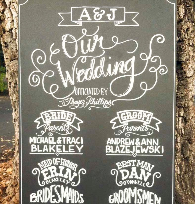 Items Similar To Chalkboard Sign Wedding Custom Made Ceremony Program Hand Drawn Sign