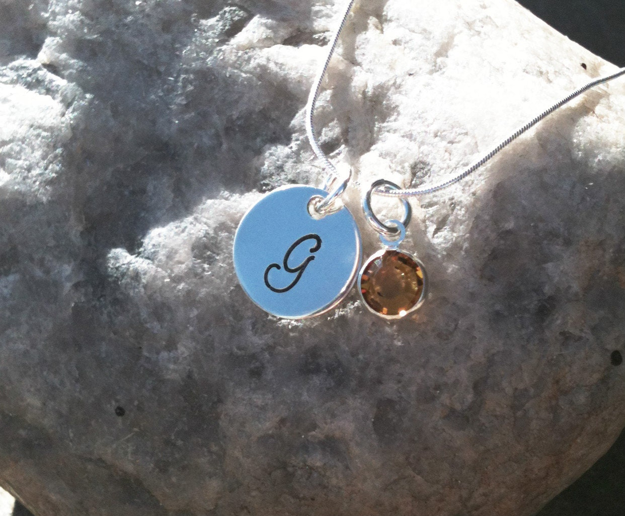 "Princess Necklace - Hand Stamped Sterling Silver Initial Necklace with Swarovski Birthstone Charm 14"" or 16"" - HARLEYStripes"