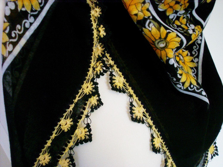 SUNFLOWER yazma yemeni SCARF SHAWL