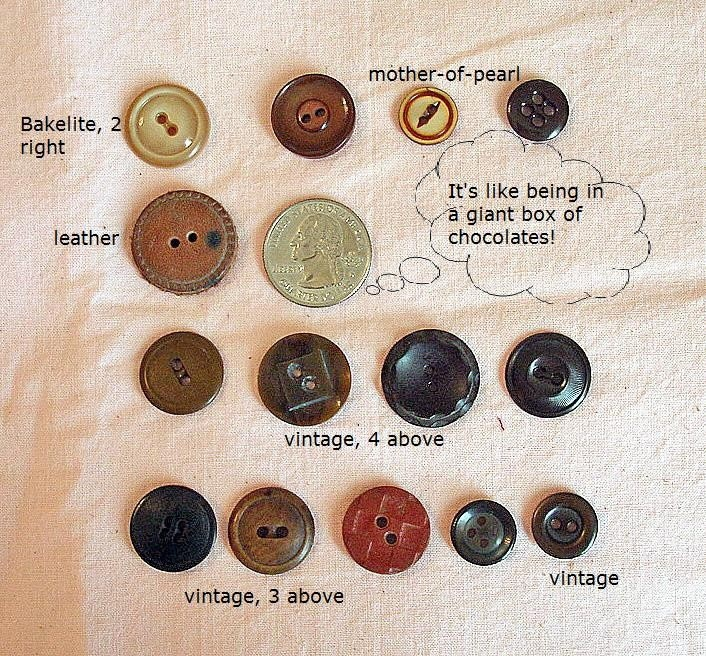 Chocolate Scrapbooking and Craft Buttons