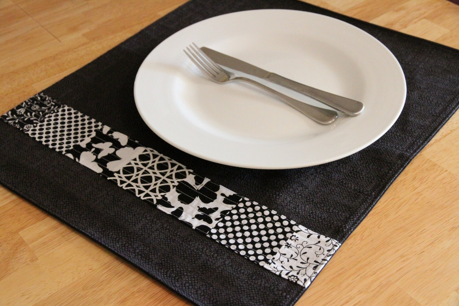 Black and White Butterfly Hand Made Placemats Set of 6 - Fluturi