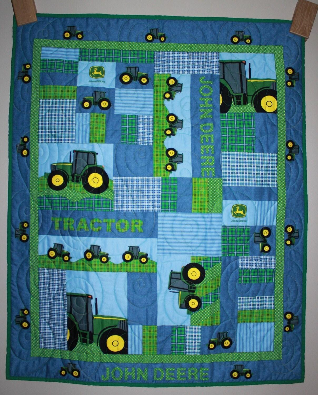 John Deere Quilt Patterns : John deere tractor plaid quilt crib lap wall by carsondesign
