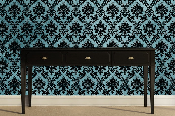 Removable wallpaper dutchess damask peel by for Teal peel and stick wallpaper