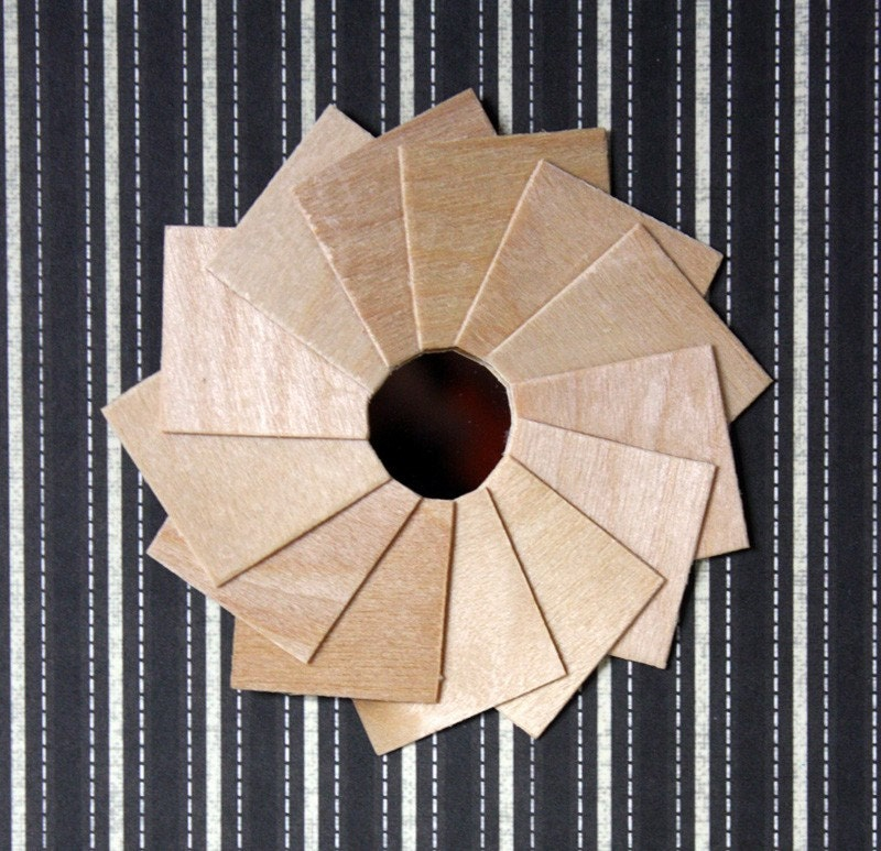 "Miniature Art Deco Mirror, ""Pinwheel"" Wood Frame, Wall Decor in 1:12 Scale"