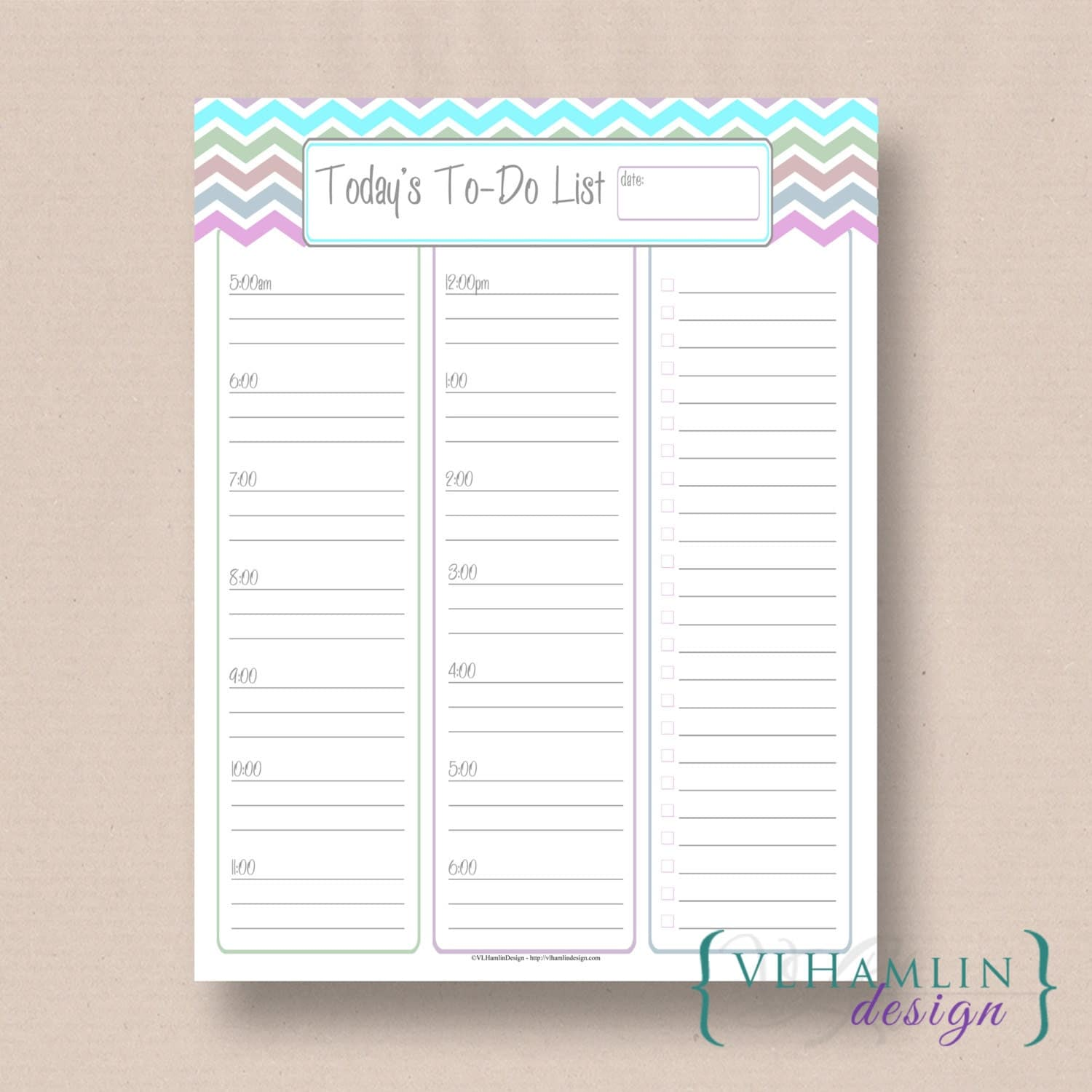 Printable Daily Planner, Pastel Che vron, Today's To Do List, DIY ...