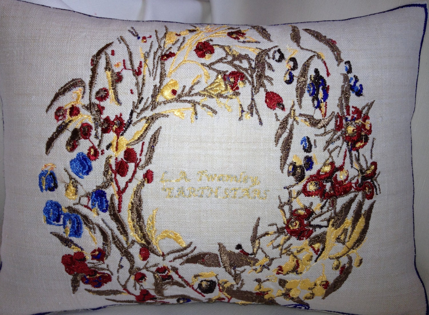 "Artistic Embroidery Berry Ring, ""Earth Stars"" Cushion Throw - Vintage Linen"