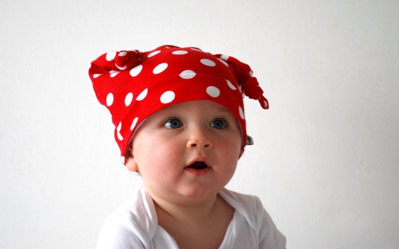 Red spotty beanie hat white polka dots toddler knotted cap funky cute pirate style kids fashion accessory childrens ladybug bright colorful - OliveAndVince