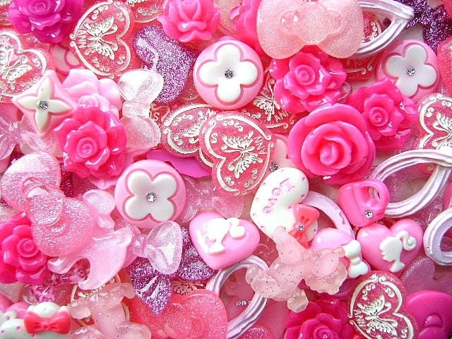 WHOLESALE Japanese 125 Pink MIX Cabochons Charms BIG Set A