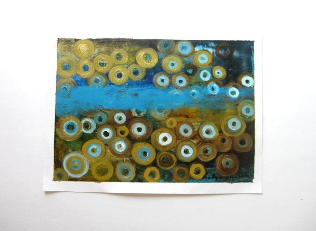 "Turquoise  and Gold, oil painting,  Turquoise and Gold,  Original Oil on paper painting one of a kind , 14""x10,5"""