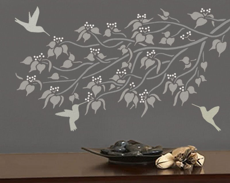Pochoir pour murs branche linden pochoir par oliveleafstencils for Pochoir pour salle de bain