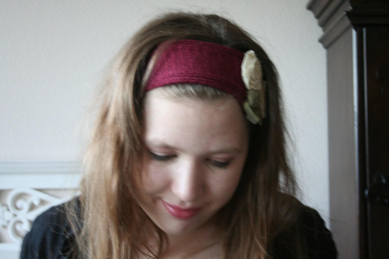 Knitted Headband // Red Silk Bamboo Headband with Silk Roses // Earwarmer // Fabric Flower Headband