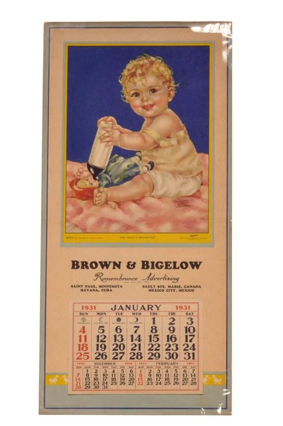 Vintage Calendar Art : Vintage calendar art brown bigelow by