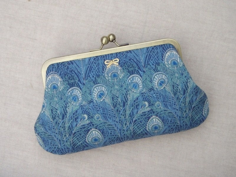 Peacock blue clutch in Liberty cotton