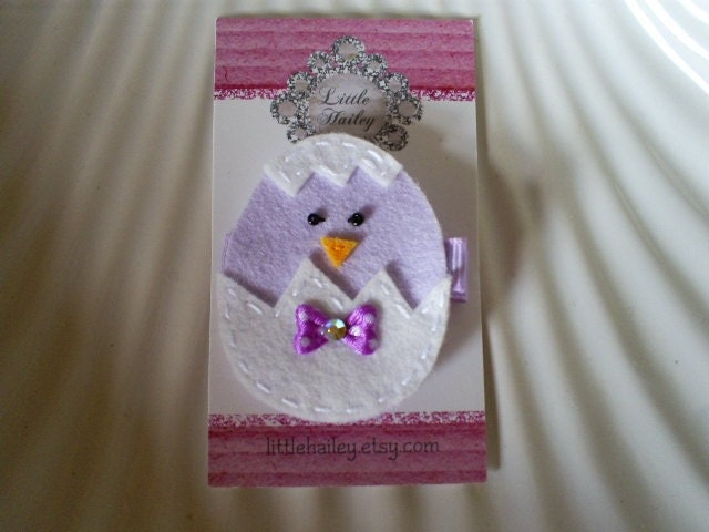 Little Lavender Chick with Sitting in Her Cracked Egg Hair Clip
