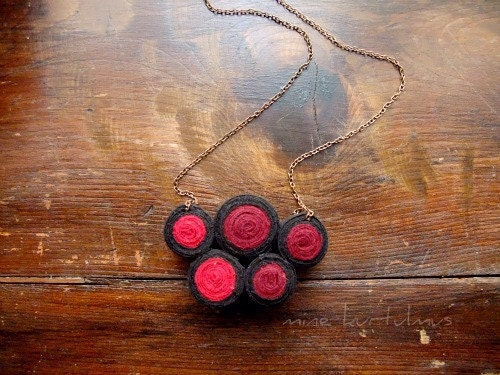 Small Circles Fibre Art  Bib Necklace