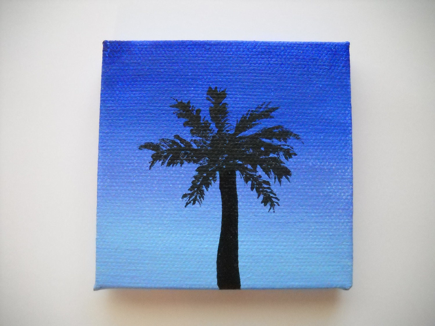 "Original Hand Painted 3x3 inch Mini Canvas Magnet - ""Palm Tree at Dusk"""