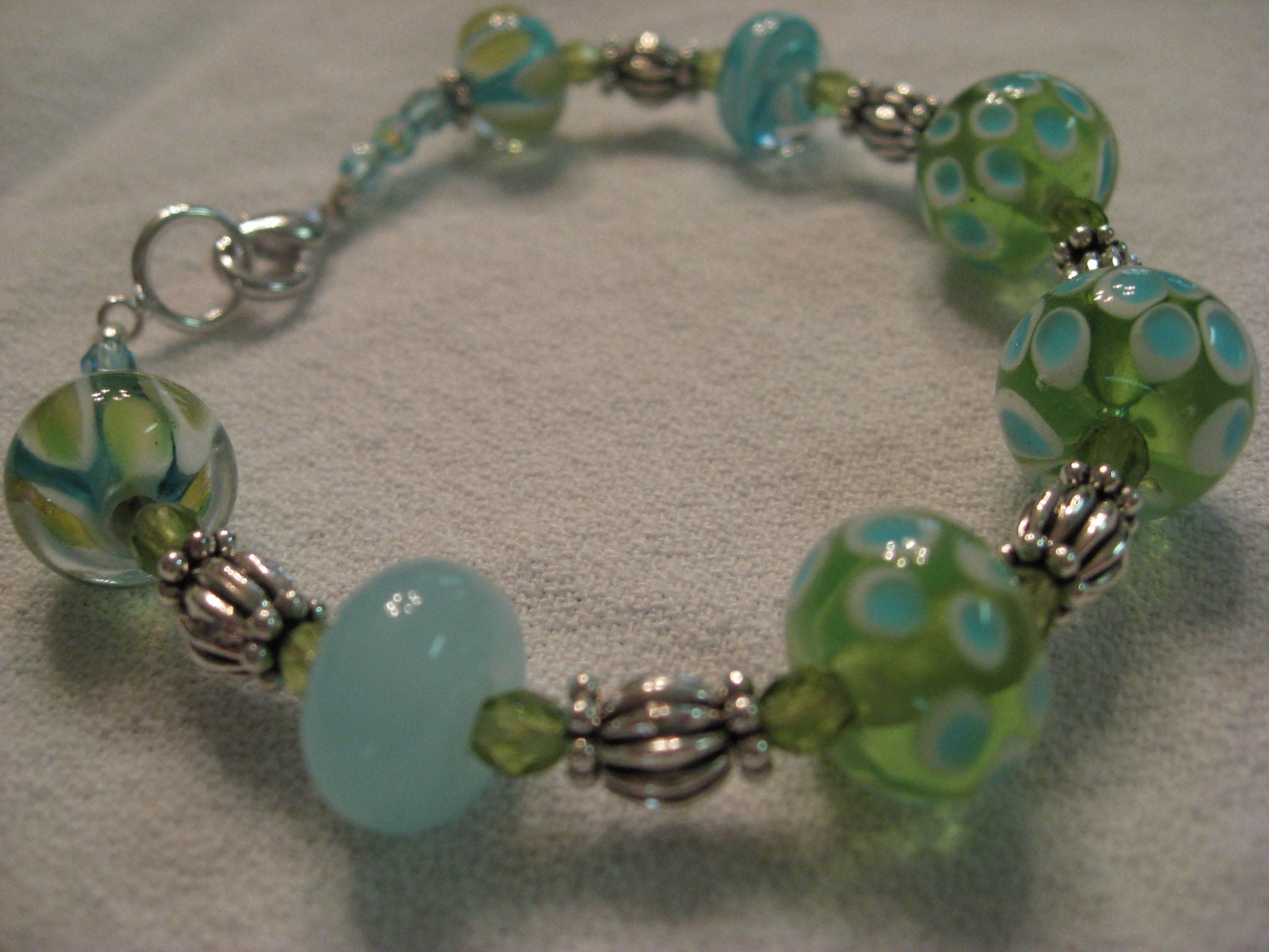 Unique Sea Glass Blue and Green Handcrafted Lampwork Beads and Sterling Silver Beaded Bracelet