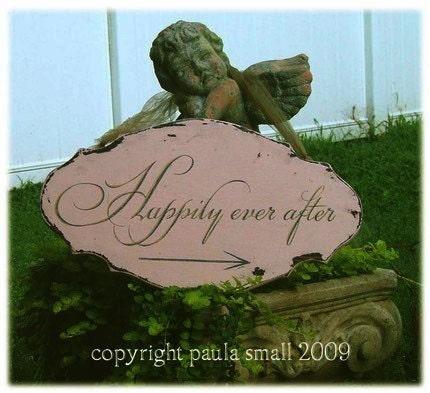 Happily Ever After WEDDING sign RECEPTION shabby vintage Elegant font