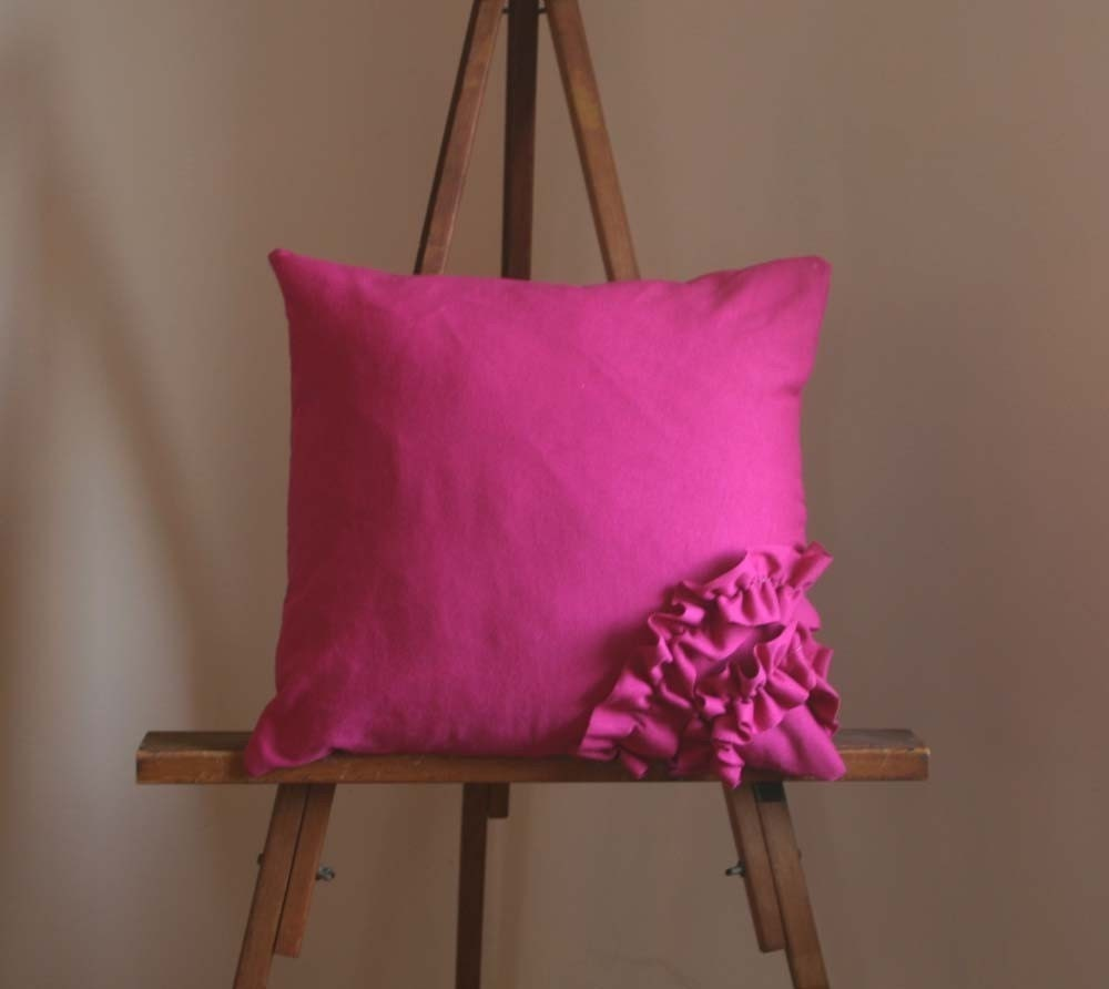 Waves Pillow Hot Pink Cotton Jersey