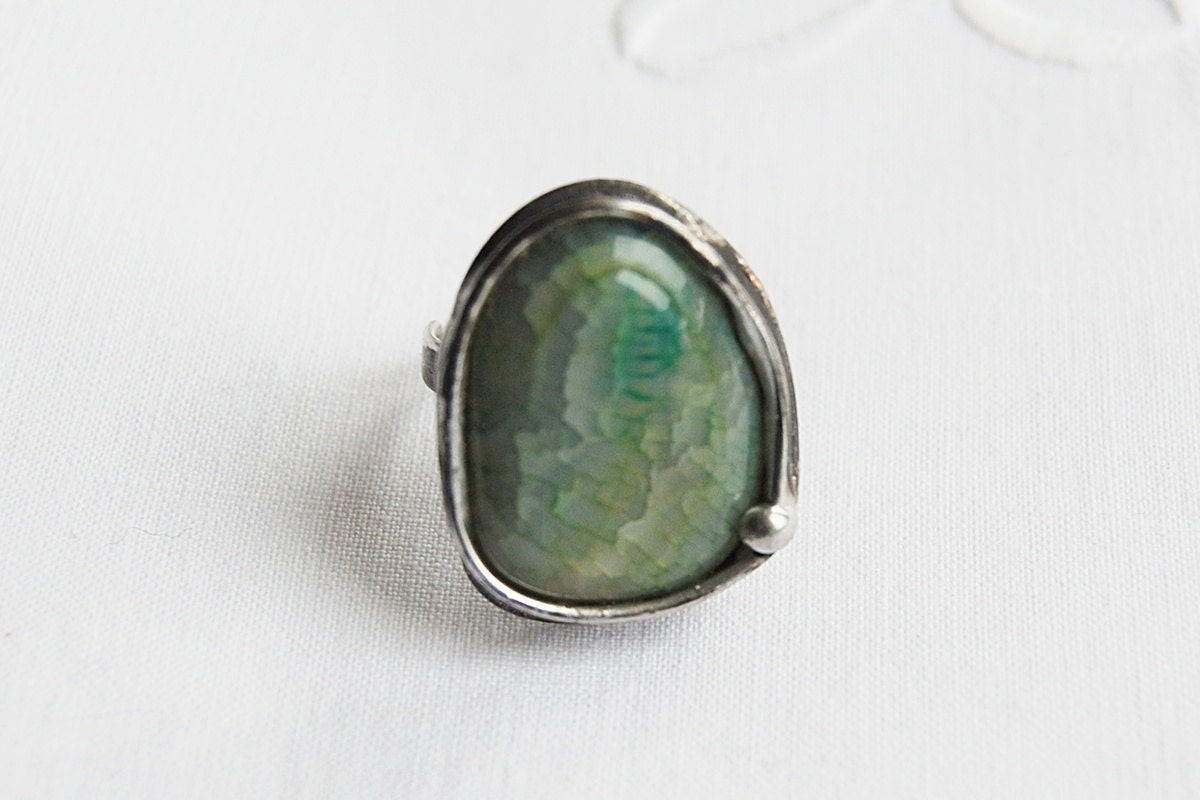 Druzy ring, crystal ring, agate geode, The unique large ring agate stone ring adjustable ring - vertverre