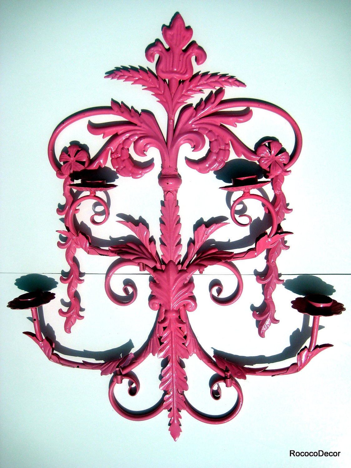 Wall Sconce Hot Pink candle chandelier by RococoDecor on Etsy