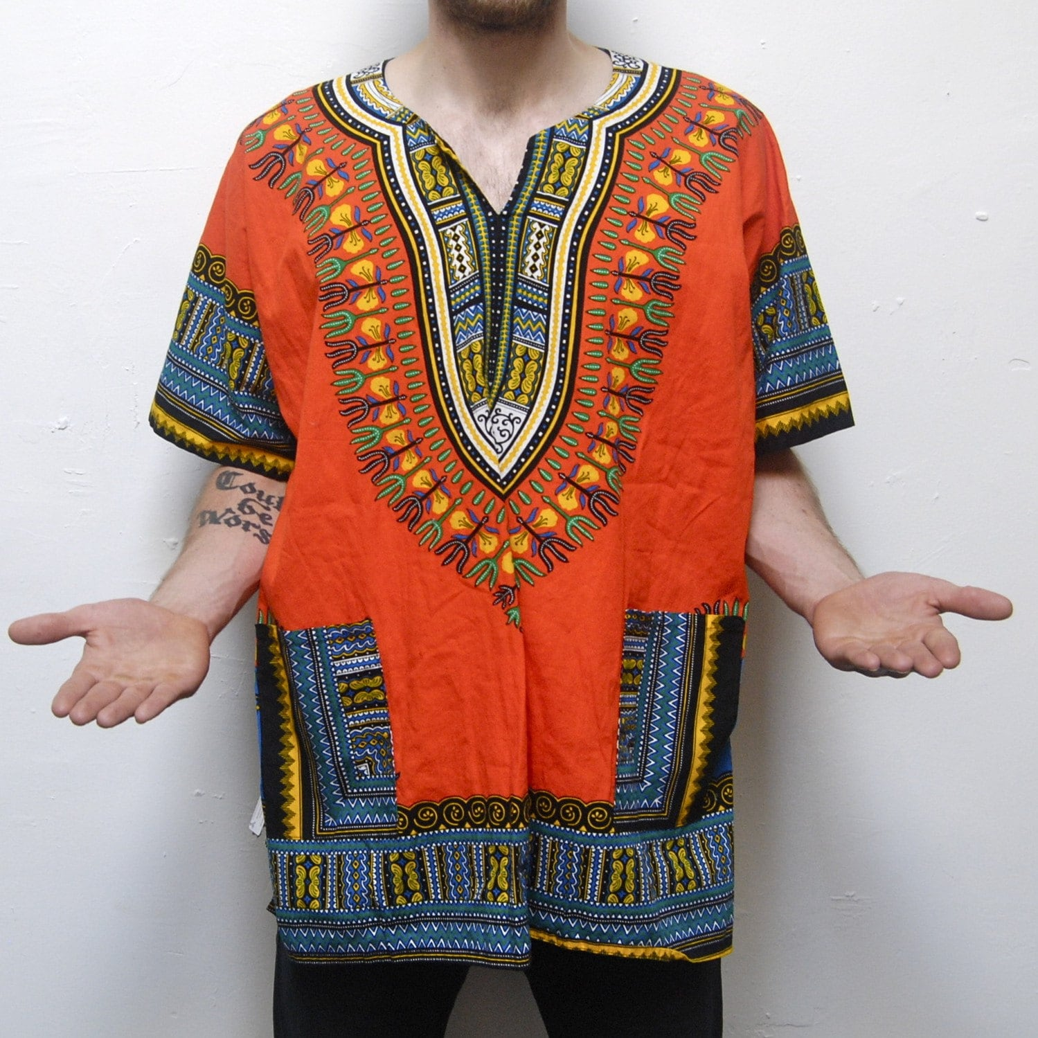 vibrant TANGERINE south african print mens DASHIKI pocket shirt