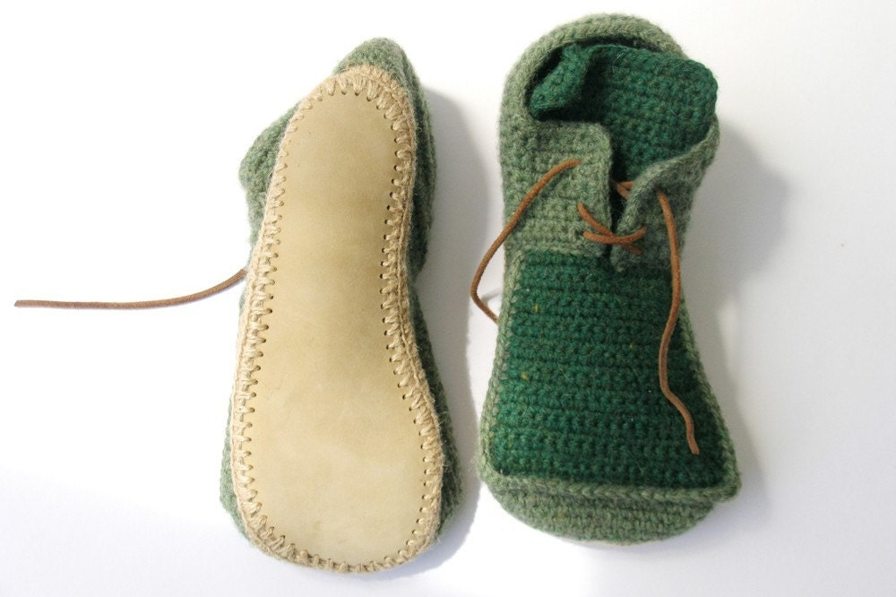 Crochet House Shoes with Leather Sole in dusty green - all adult shoe sizes
