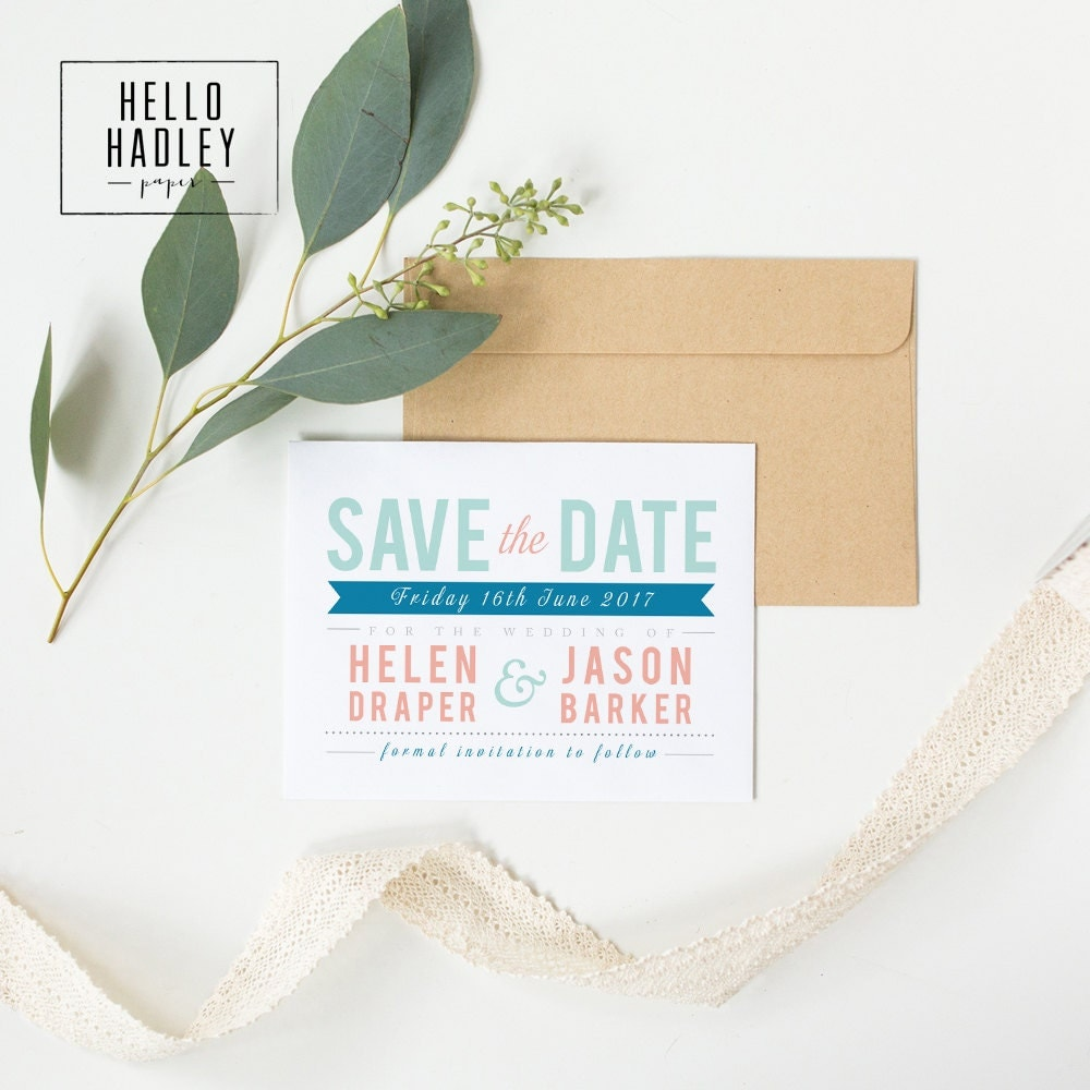 Printable wedding save the date card  Draper collection (colour)