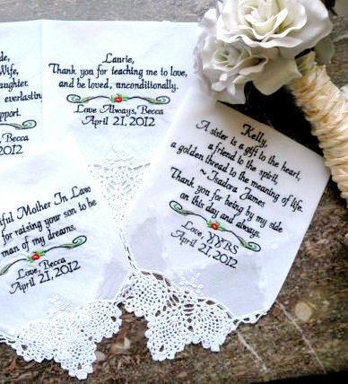 Four Personalized WEDDING HANKIE'S Mother & Father of the Bride In-Law Stepmother Sister Gifts Handkerchief By Canyon Embroidery