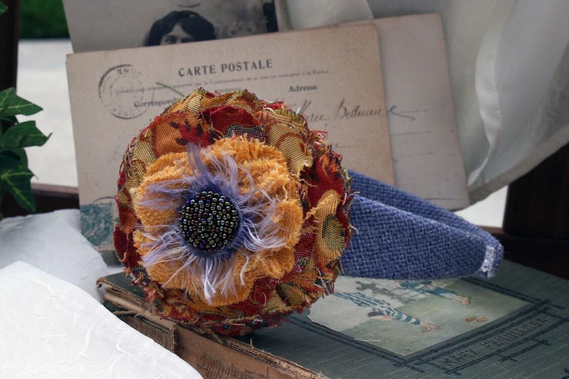 Colorful Fabric Flower Headband Hair Fascinator