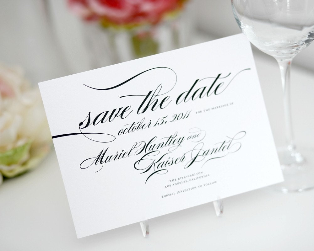 Elegant Script Save the Dates in Black and White on Pearl Cardstock, Deposit Listing