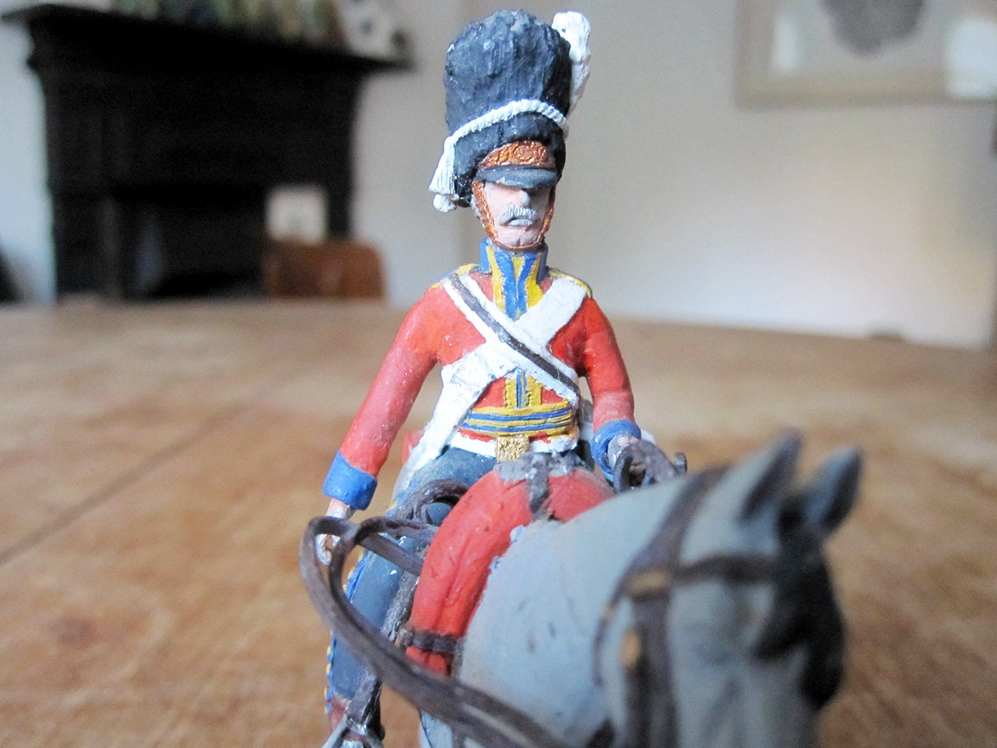 Antique Napoleonic Era British Army Soldier on Horse Toy Figurine