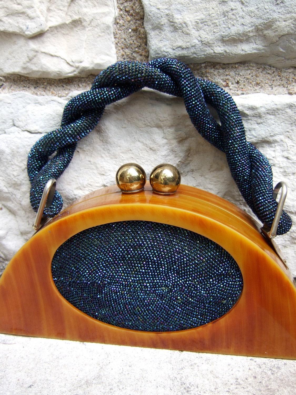 1940s Mind Boggling Bakelite & Cobalt Carnival Beaded Handbag