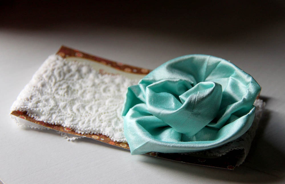 Noelle - Cyan structered bias rose  headband