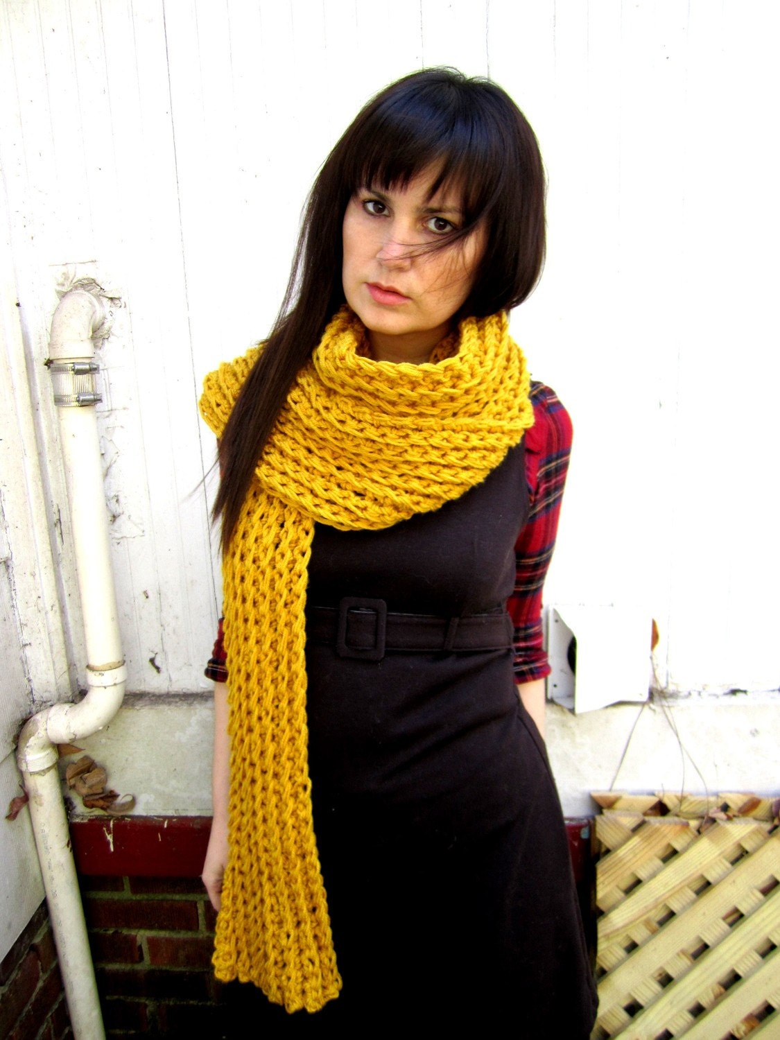 Softspoken Chunky Ribbed Scarf in Sunshine